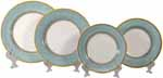 Italian Charger Place Setting - Yellow Border Teal