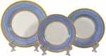 Italian Dinner Place Setting - Yellow Border Light Blue