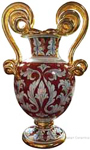 Italian Ceramic Vase - Rubino Scroll Handles