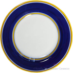 Deruta Italian Salad Plate - Yellow Rim Solid Blue
