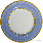 Deruta Italian Salad Plate - Yellow Rim Solid Light Blue