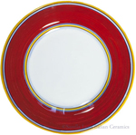Deruta Italian Salad Plate - Yellow Rim Solid Red