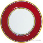 Deruta Italian Salad Plate - Yellow Rim Solid Red