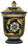 URN - Blue Flower and Leaves