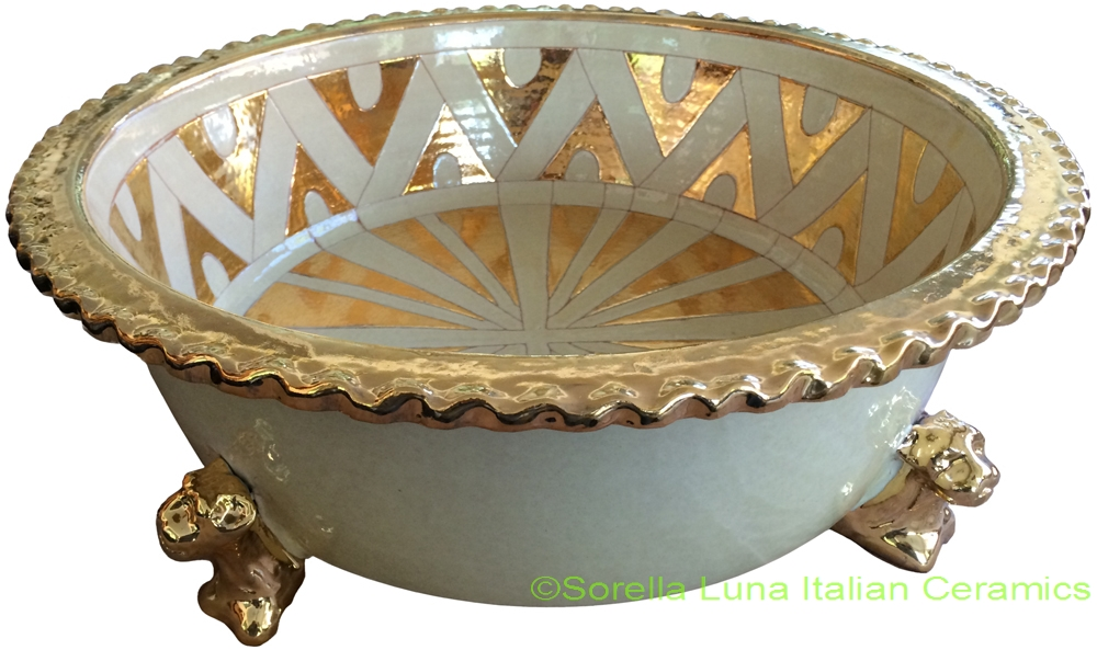 Italian Ceramic Footed Bowls