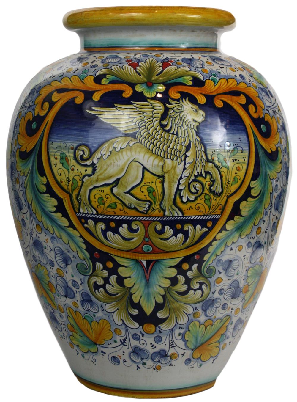 Italian Ceramic Floor Vase Griffin View Detailed Images 1