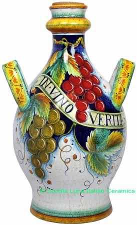 Ceramic Maiolica Handled Bottle Centerpiece Grapes 50cm