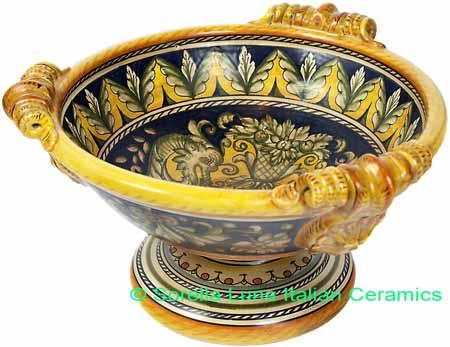 Ceramic Majolica Centerpiece Raffaellesco Yellow Blue