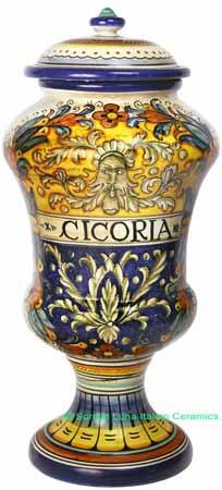 Ceramic Majolica Cicoria Jar Blue Yellow Spring 40cm