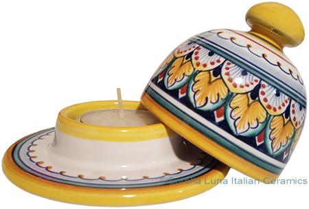 Ceramic Majolica Covered Candle Yellow White Vario 10cm