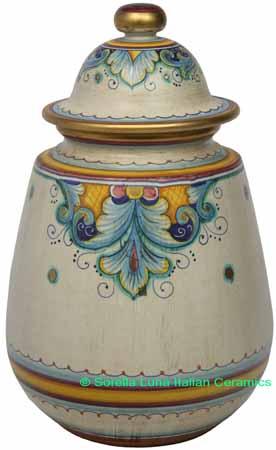 Ceramic Majolica Jar Covered Deruta Ricco Oro Gold 32cm