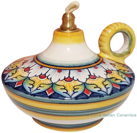 Ceramic Majolica Oil Lamp 1206 10 Handle White Yellow