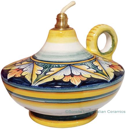 Ceramic Majolica Oil Lamp 1206 10 Handle Red Green Blue