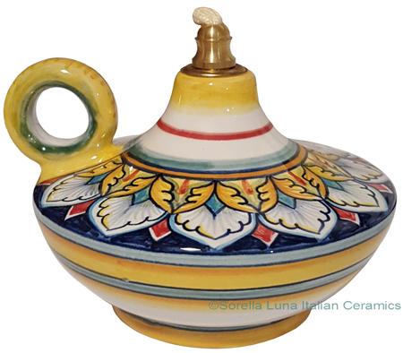 Ceramic Majolica Oil Lamp 1206 10 Handle Yellow White