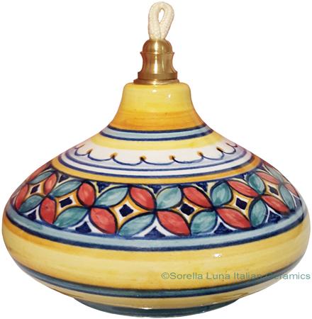 Ceramic Majolica Oil Lamp 1206 3 Red Green Petals