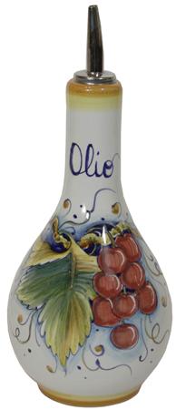 Ceramic Majolica Olive Oil Dispenser Red grapes 20cm