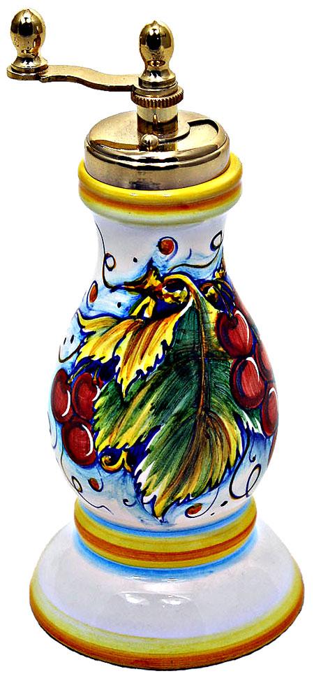 Ceramic Majolica Pepper Grinder Red Grapes