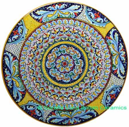 Ceramic Majolica Plate 8 Star Deruta Ricco Red 42cm
