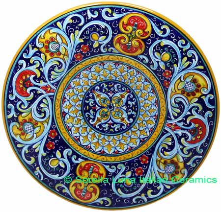 Ceramic Majolica Plate Deruta Ricco Scrolls Blue 739 30cm