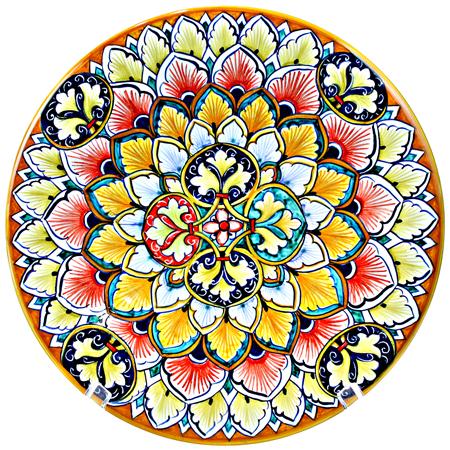 Ceramic Majolica Plate FDL G04 Green Blue Red 739 25cm