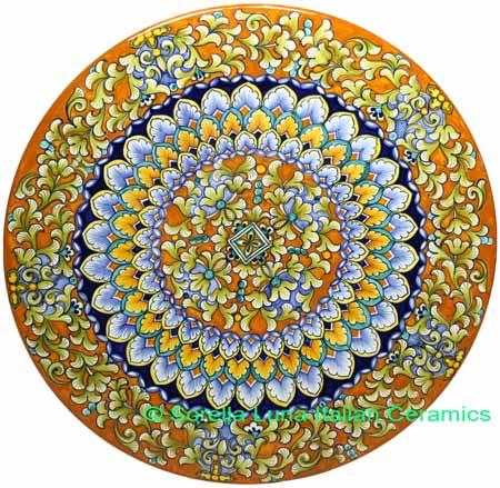 Ceramic Majolica Plate FDL G04 Orange Light Blue 42cm