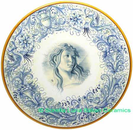 Ceramic Majolica Plate Figure Botticelli Blue 42cm