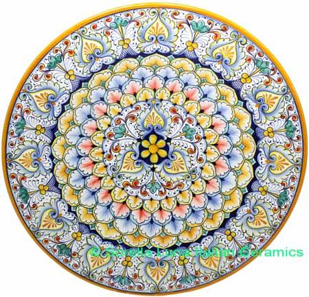 Ceramic Majolica Plate G03 G6 Yellow Blue Red 42cm