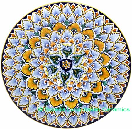 Ceramic Majolica Plate G03 Green Yellow Brown 739 30cm