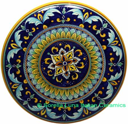Ceramic Majolica Plate G04 Cobalt Blue Yellow 42cm