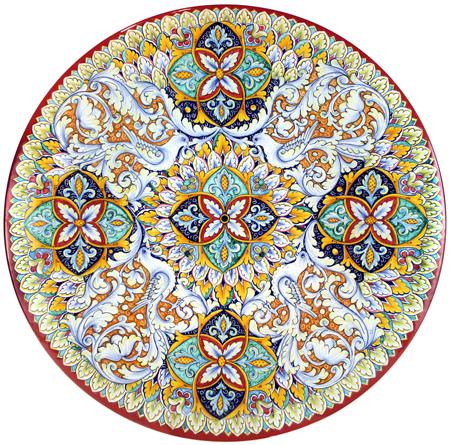 Ceramic Majolica Plate G04 Doves Birds Red White 52cm