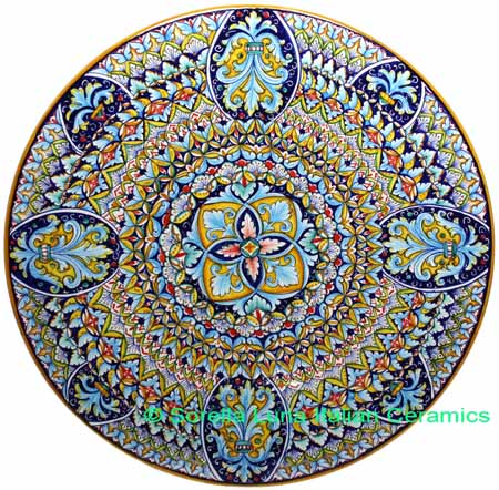 Ceramic Majolica Plate G04 G8 Deruta Ricco Red Blue 47cm