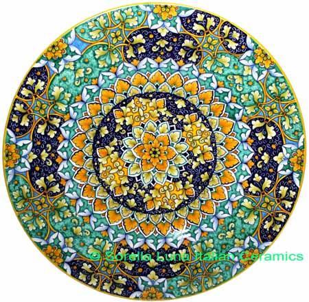 Ceramic Majolica Plate G06 GEO Green Yellow Blue 47cm