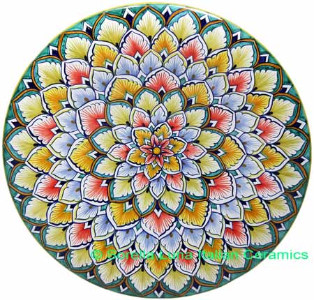 Ceramic Majolica Plate G06 Red Yellow Green 739 30cm