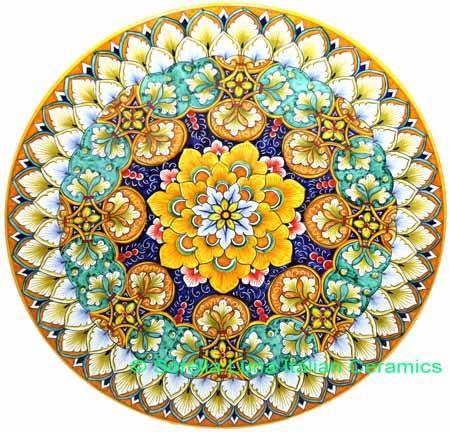 Ceramic Majolica Plate G07 G08 Orange Blue Green 42cm