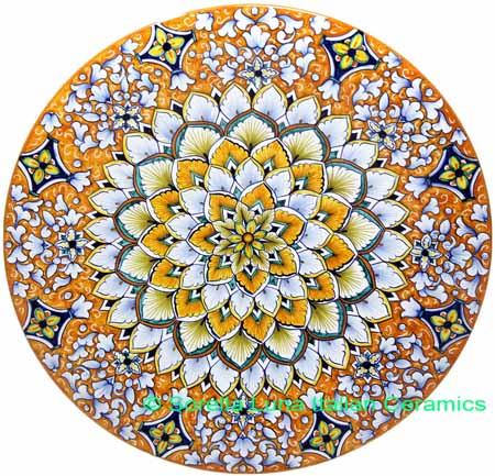 Ceramic Majolica Plate G07 Orange White Blue 739 35cm