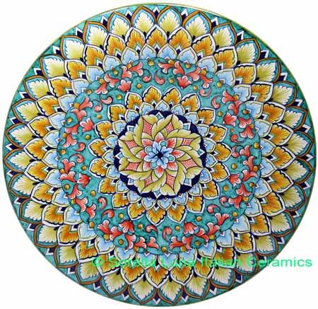 Ceramic Majolica Plate G08 Teal Red Green 739 35cm