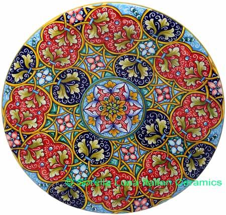 Ceramic Majolica Plate G12 GEO Red Blue Teal 739 30cm
