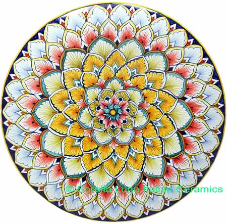 Ceramic Majolica Plate G12 Orange Red LB 739 30cm