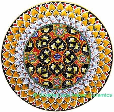 Ceramic Majolica Plate GEO 4 Orange White Black Red 47cm