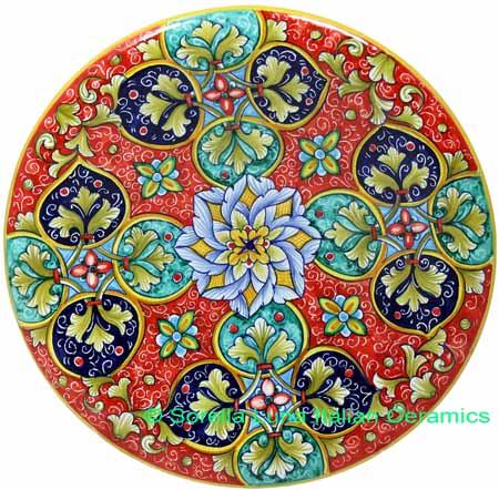 Ceramic Majolica Plate GEO G8 Red Green Blue 739 25cm