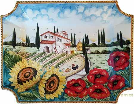 Ceramic Majolica Plate HZ Tuscany Poppies 4131