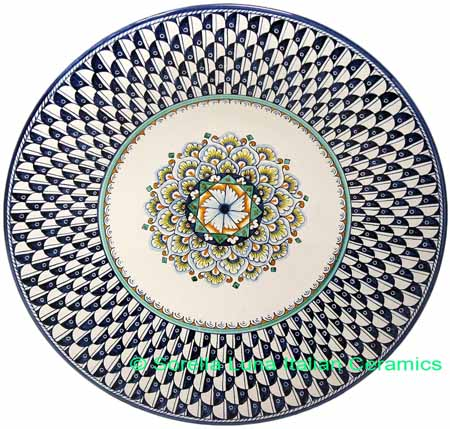 Ceramic Majolica Plate Peacock Blue White NC 35cm