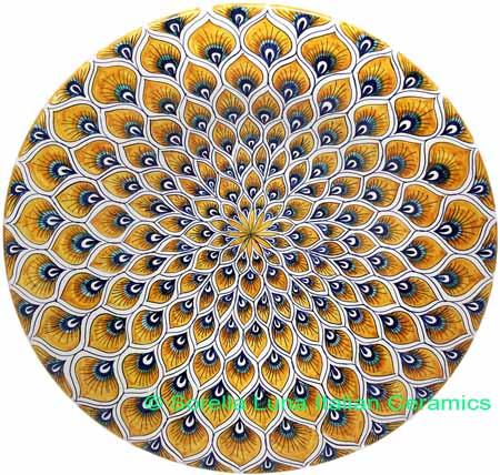 Ceramic Majolica Plate Peacock Yellow MRN 42cm