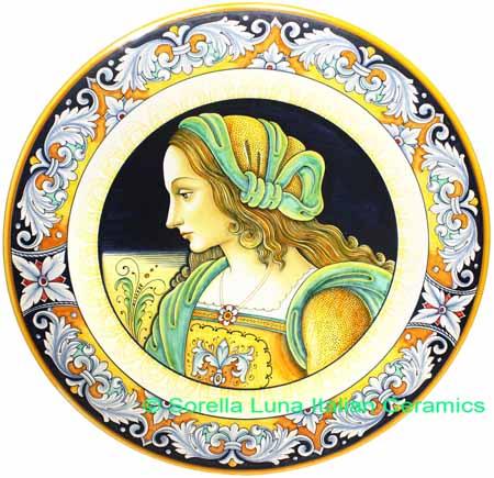 Ceramic Majolica Plate Portrait Female BW GRN FIDES 52cm