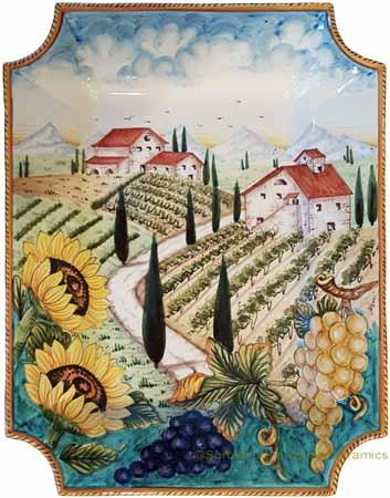 Ceramic Majolica Plate VT Tuscany Grape Country 4131