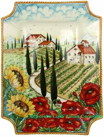 Ceramic Majolica Plate VT Tuscany Poppy Country 4131