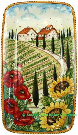 Ceramic Majolica Plate VT Tuscany Poppy Country 4424