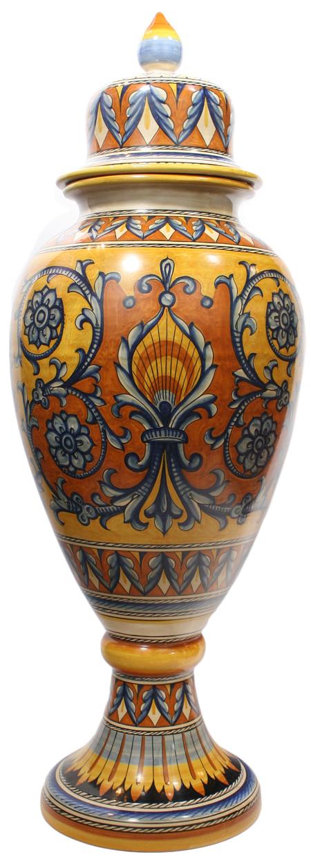 Italian Ceramic Floor Urn - Medieval Orange-Yellow