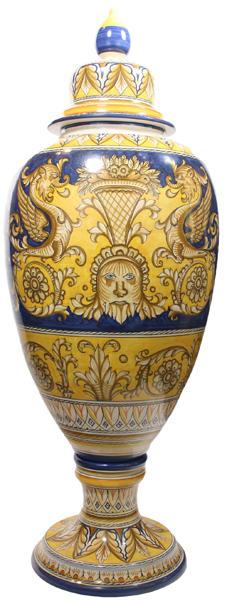 Italian Ceramic Floor Urn - Medieval Blue-Yellow