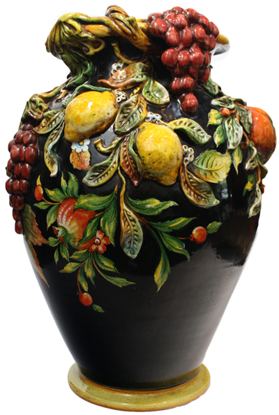 Italian Ceramic Floor Vase - Frutta Nero Relief